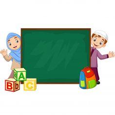 Cartoon muslim kids with chalkboard Prem. Background Ppt, Poster Background Design, Floral Backround, Student Clipart, Logo Ig, Kids Vector, Vector Free, Foto Frame, Phone Wallpaper Images