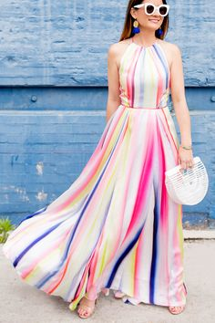 Jennifer Lake Style Charade in a Coast multicolor stripe maxi dress, Cult Gaia mother of pearl Ark bag, and Monica Vinader linear bracelets in Chicago Frock Fashion, Indian Fashion Dresses, Moda Fashion, Girl Fashion, Fashion Outfits, Dressy Outfits, Cowgirl Outfits, Modern Outfits, Girls Dresses