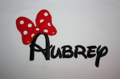 So fitting since im obsessed woth this name...Monogrammed Name with Appliqued Minnie Mouse Bow