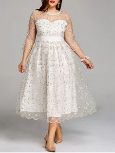 Plus Size Sheer Embroidery Tiny Floral Tulle Dress Plus Size Party Dresses, Plus Size Skirts, Tea Length Dresses, Dresses For Sale, Plus Size Outfits, Plus Size Dresses To Wear To A Wedding, Modest Dresses, Short Dresses, Fall Dresses
