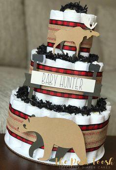 Lumberjack Diaper Cake Baby Shower Decor Centerpiece