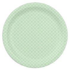 Sage Green Quatrefoil Paper Plate