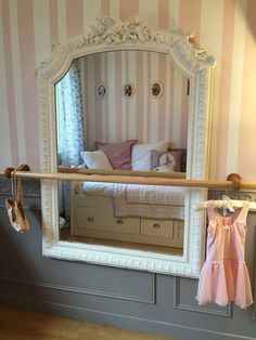 DIY dance space for girls bedroom. Shabby chic mirror with ballet barre. #vintagelook