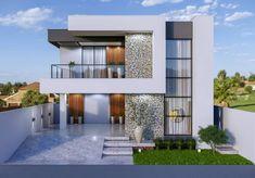 Best Modern House Design, Modern Villa Design, Modern Exterior House Designs, House Front Design, Modern House Facades, Modern Bungalow House, Bungalow House Plans, Modern House Plans, Classic House Exterior