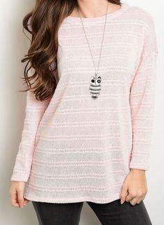 New Knit Tunic Sweater Tonal Stripe Design Soft High Neck Style Fashion Blouse #Fashion #Crewneck #Work
