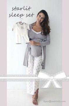 We created this gift set just for you. Pink and grey starlits surround this adorable nursing cami and pant set by Belabumbum. Sexy and comfortable; its fabric is supersoft and its lace details are incredibly cute. When you feel like covering up, wear the matching grey robe detailed with lace. Empire nursing access to feed your baby discreetly. Matching Baby Outfit is cute and cozy!