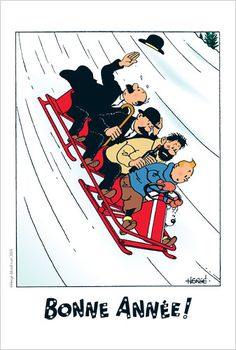 Bonne Année from Tintin! { happy new year in French } Superman, Batman, Captain Haddock, Herge Tintin, Fictional Heroes, Illustration Noel, Ligne Claire, Billie Holiday, Holiday Photo Cards