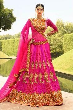 Georgette Semi Stitched A-Line Lehenga Choli In Pink Colour