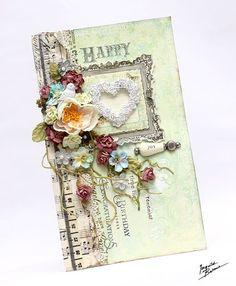 Would make a great mini album cover! CHA Sneak Peeks: Shabby Chic Treasures Card by #ingvildbome for Prima!