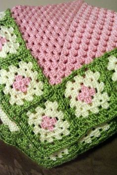 Crochet Granny Squares Blanket Custom Crochet Granny Square Baby Blanket by TheCrochetBarbie - Crochet Afghans, Crochet Diy, Love Crochet, Crochet Blanket Patterns, Baby Blanket Crochet, Crochet Crafts, Yarn Crafts, Crochet Stitches, Simple Crochet