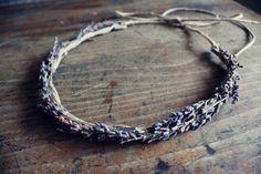 natural halo lavender. dried lavender (smells wonderful)  hemp cording  ties in the back