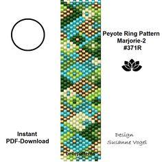 peyote ring pattern,PDF-Download, instant download,ring #371R,2 variants, beading pattern, beading tutorials, ring pattern,pdf von bellepatterns auf Etsy
