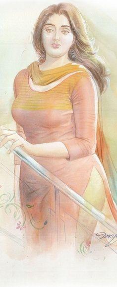 Ravivarma Paintings, Indian Art Paintings, Sexy Painting, Woman Painting, Cartoon Photo, Cartoon Art, Model Girl Photo, Water Paints, Indian Women Painting