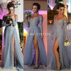Grey-Long-A-line-Tulle-Elegant-Side-Slit-applique-Sexy-V-neck-Long-Sleeve-Pageant-Prom.jpg