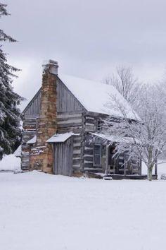 Love this cabin & Winter scene!!