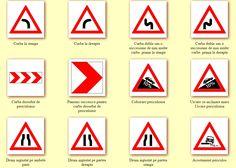 Indicatoare rutiere de avertizare pentru siguranta-n trafic Logos, School, Cards, Logo, Maps, Playing Cards