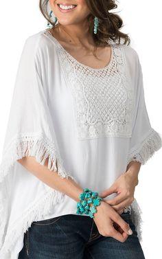 Karlie Women's White with Crochet & Fringe Flare Sleeved Top