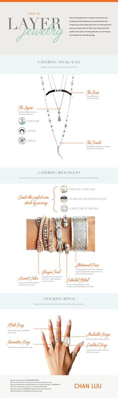 How To Layer Jewelry Infographic Chan Luu Premier Jewelry, Premier Designs Jewelry, Necklace Designs, Jewelry Design, Designer Jewelry, Layered Jewelry, Layered Bracelets, Layered Necklace, Layering Necklaces