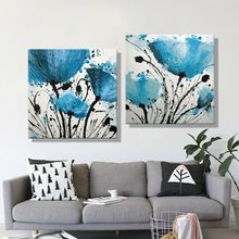 Oil Painting Canvas Abstract Blue Flower Decoration Home Decor On Canvas Modern Wall Picture For Living Room(2PCS)(China (Mainland))
