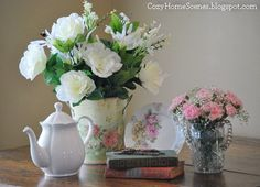 Copycat flowers - making floral vignettes with silk & artificial stems. (Fresh flowers are always the best, but this is a fun & inexpensive project.)