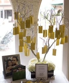 Inspiration Friday: Alternative Wedding Guest Book Ideas Wishing tree, guest makes a with for couple and hangs on the tree. Golden Wedding Anniversary, Anniversary Parties, Anniversary Ideas, Ruby Anniversary, Memory Tree, 50th Party, Wedding Guest Book Alternatives, Wedding Ideas, Wedding Venues
