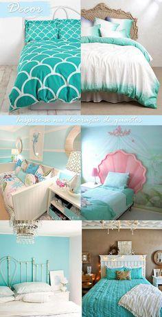 Mermaid Decoration - See Tips and Ideas from this Trend! Ocean Bedroom Kids, Ocean Room, Mermaid Room Decor, Mermaid Bedroom, Girl Bedroom Designs, Bedroom Themes, Bedroom Decor, Big Girl Bedrooms, Girls Bedroom