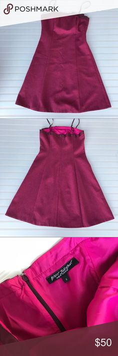 Betsey Johnson Pink Dress, Size S Adorable Betsey Johnson pink lined dress. Bow on from. Thin straps. Pet and smoke free home! Like new!  55% Wool 45% Polyester See my other listing for a bundle deal:) Betsey Johnson Dresses