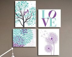 Mint and Purple Modern Nursery Prints, Birds in an Oak Tree, Dandelion Abstract Floral, Personalize colors, Playroom decor, 8X10 and 11X14