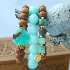 Sandalwood and Green Chrysoprase Stretch by LaliJewelryShop