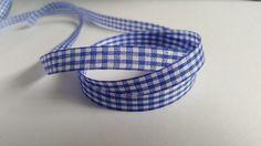 3m Ribbon - Gingham Check - 10mm - Blue