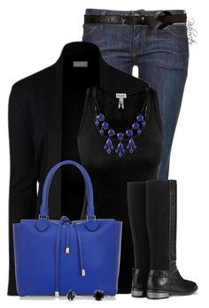"""""""Black and Blue Jeans"""" by pinkroseten ❤ liked on Polyvore featuring Replay, Michael Kors, Cole Haan, Maison Margiela and Simply Silver"""