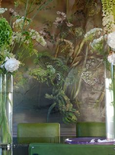 Old School ~ New Life: Claire Basler's Atelier & Home in France Claire Basler Claire Basler, Mural Painting, Painting Abstract, Acrylic Paintings, Green Home Decor, Wall Murals, Wall Art, Art Graphique, French Artists