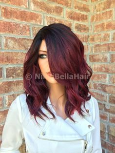 Cherry Red Balayage Human Hair Blend full wig - Nikki Bella Hair lace front wigs, upart wigs, and full lace wigs. We have wigs in all hair colors a - Pelo Color Vino, Red Ombre Hair, Red Balayage Hair Burgundy, Auburn Balayage, Bayalage Red, Red Highlights In Brown Hair, Red Violet Hair, Green Hair, Red Hair Pink Dress