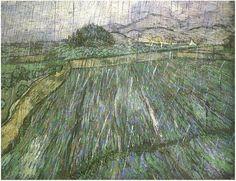 Vincent van Gogh Wheat Field in Rain Painting