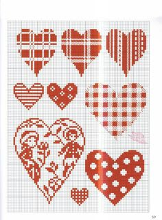 love hearts cross stitch