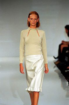 Amaya Arzuaga | Spring 2000 Ready-to-Wear | 24 Beige long sleeve top and white midi skirt with ruffled hem