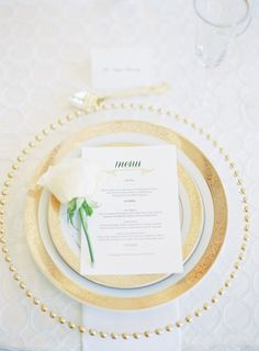Gold place setting: http://www.stylemepretty.com/2014/10/27/elegant-summer-black-tie-wedding-in-atherton/ | Photography: Coco Tran - http://www.cocotran.com/
