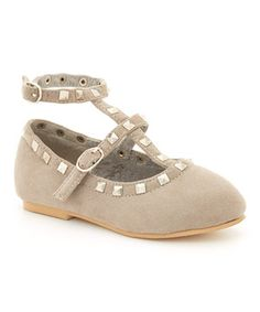 Another great find on #zulily! Grey Studded Joan Leather Flat by China Doll #zulilyfinds