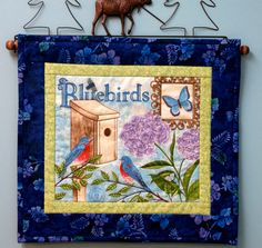 Bluebird Quilted Wall Hanging Spring Wall Hanging by twistedsticks, $21.00