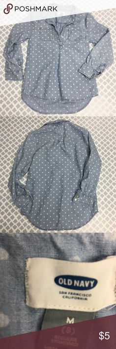 Old Navy Chambray Polka Dot Shirt 🔘Description: Old Navy girls size 8 chambray polka dot half button down top  🔘Condition: Good – It may be my lighting or there is a slight stain on the pocket. I have a photo listed.   🔘Material: 100%cotton  🔘Measurements:    ⭐️ 15% Off All Bundles! 🛍    💞Thanks for stopping by! 😘 Old Navy Shirts & Tops