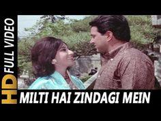 Milti Hai Zindagi Mein Mohabbat | Lata Mangeshkar | Ankhen 1968 Songs | Mala Sinha, Dharmendra - YouTube Love Songs Hindi, Song Hindi, Romantic Love Song, Beautiful Songs, Old Song Download, Music Download, Music Albums, Music Songs, My Father Quotes