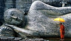The reclining Buddha of Polonnaruwa. Sri Lanka.