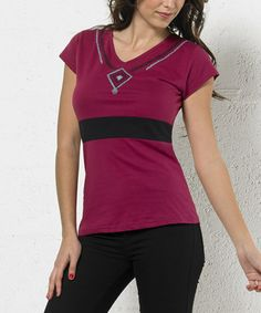 Look what I found on #zulily! Fuchsia & Black Geometric Scoop Neck Top - Plus Too #zulilyfinds