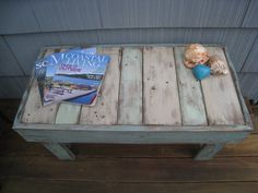 "Shabby Chic Pallet Bench Beach Coffee Table Rustic Table Recycled Wood Table Cottage Chic Table Made to Order OOAK 30"" x 16"" x 16"""