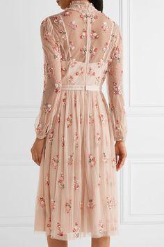 Needle & Thread - Ditsy Pussy-bow Embellished Tulle Dress - Blush