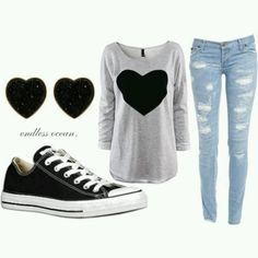 cute outfit for back to school. I would change the jeans though...