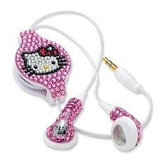 Hello Kitty rhinestone retractable earbuds; cat and electronic listening device.why do I not have these