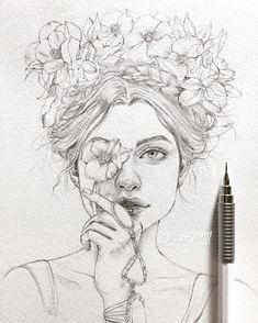 madison v roce 2019 art sketchbook, art sketches a dr Pencil Art Drawings, Art Drawings Sketches, Cool Drawings, Drawing Drawing, Drawing Faces, Pencil Sketch Art, Drawing With Pencil, Drawings Of Flowers, Drawing Ideas