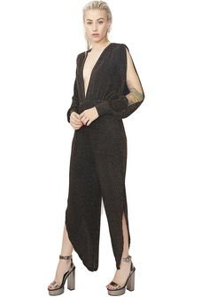 Ice Storm Shimmery Jumpsuit will give 'em chills. This comfy jumpsuit has a deep v neckline, a tie on the back, and an elastic waist.