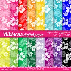 Hawaiian digital paper with tropical hibiscus for scrapbooking, crafts, luau invitations, scrapbook supplies DIGITAL DOWNLOAD DP-330 by LaurelingStudios on Etsy https://www.etsy.com/listing/187693232/hawaiian-digital-paper-with-tropical